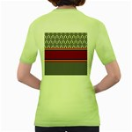 Background Damask Red Black Women s Green T-Shirt Back