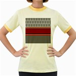 Background Damask Red Black Women s Fitted Ringer T-Shirts Front