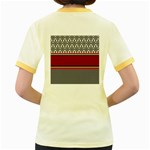 Background Damask Red Black Women s Fitted Ringer T-Shirts Back