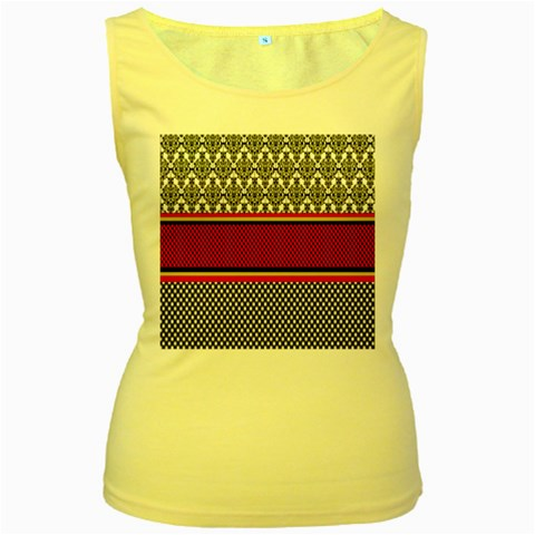 Background Damask Red Black Women s Yellow Tank Top