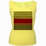 Background Damask Red Black Women s Yellow Tank Top Front