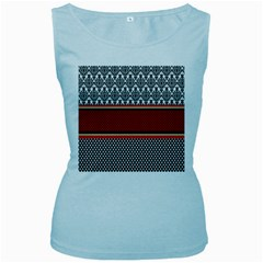 Background Damask Red Black Women s Baby Blue Tank Top
