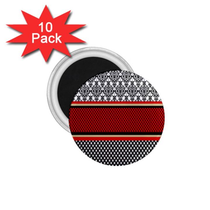 Background Damask Red Black 1.75  Magnets (10 pack)