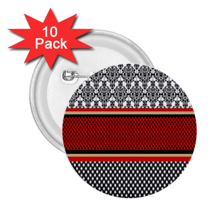 Background Damask Red Black 2.25  Buttons (10 pack)