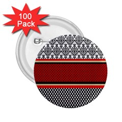 Background Damask Red Black 2.25  Buttons (100 pack)