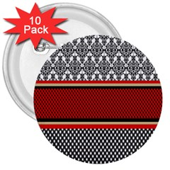 Background Damask Red Black 3  Buttons (10 pack)