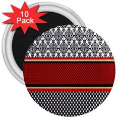 Background Damask Red Black 3  Magnets (10 pack)