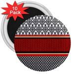 Background Damask Red Black 3  Magnets (10 pack)  Front