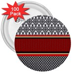 Background Damask Red Black 3  Buttons (100 pack)  Front
