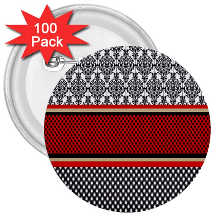 Background Damask Red Black 3  Buttons (100 pack)