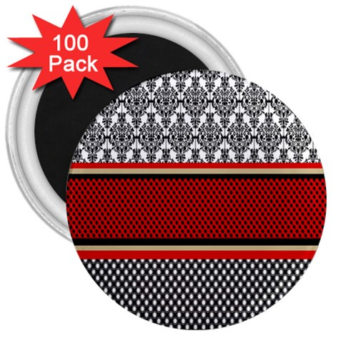 Background Damask Red Black 3  Magnets (100 pack)