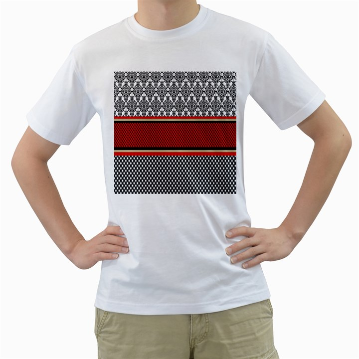 Background Damask Red Black Men s T-Shirt (White) (Two Sided)