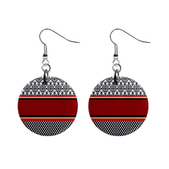 Background Damask Red Black Mini Button Earrings