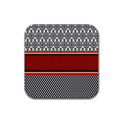 Background Damask Red Black Rubber Square Coaster (4 pack)