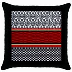 Background Damask Red Black Throw Pillow Case (Black) Front