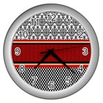 Background Damask Red Black Wall Clocks (Silver)  Front