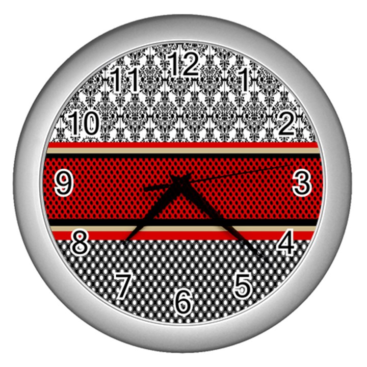 Background Damask Red Black Wall Clocks (Silver)