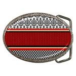 Background Damask Red Black Belt Buckles Front