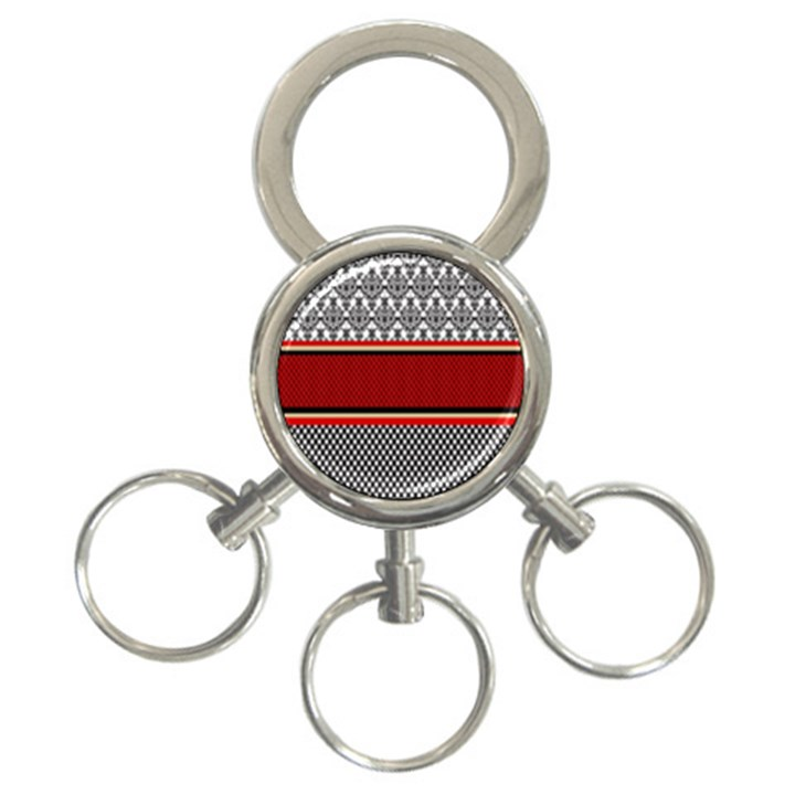 Background Damask Red Black 3-Ring Key Chains
