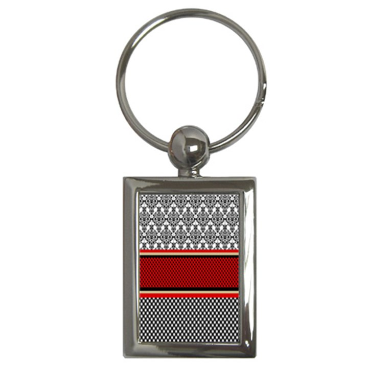 Background Damask Red Black Key Chains (Rectangle)