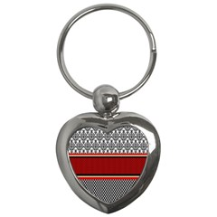 Background Damask Red Black Key Chains (Heart)