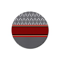 Background Damask Red Black Rubber Coaster (Round)