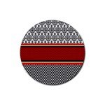 Background Damask Red Black Rubber Coaster (Round)  Front