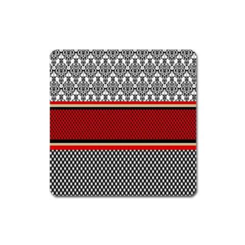 Background Damask Red Black Square Magnet