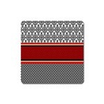 Background Damask Red Black Square Magnet Front