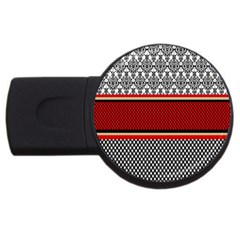Background Damask Red Black USB Flash Drive Round (2 GB)