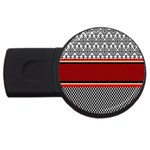 Background Damask Red Black USB Flash Drive Round (1 GB)  Front