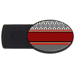 Background Damask Red Black USB Flash Drive Oval (2 GB)