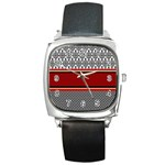 Background Damask Red Black Square Metal Watch Front