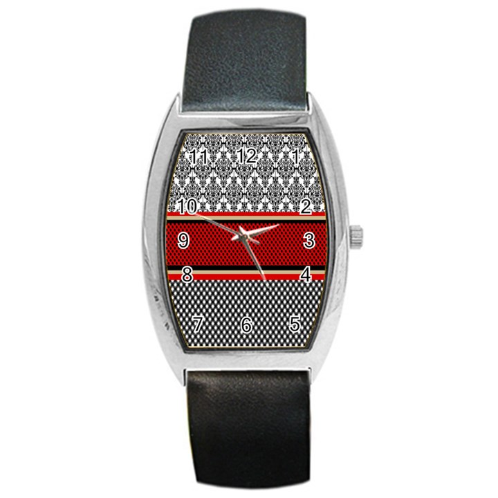 Background Damask Red Black Barrel Style Metal Watch