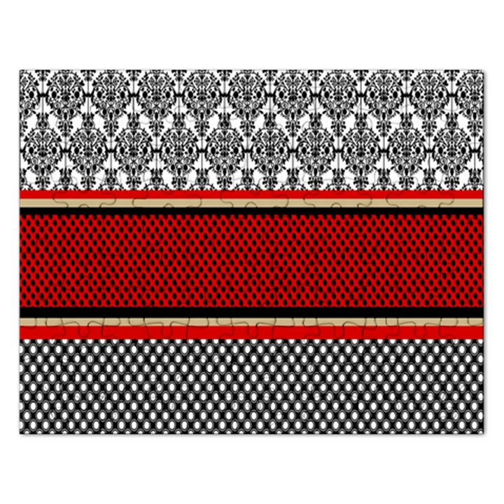 Background Damask Red Black Rectangular Jigsaw Puzzl