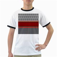 Background Damask Red Black Ringer T-Shirts