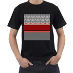 Background Damask Red Black Men s T-Shirt (Black) (Two Sided) Front