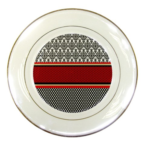 Background Damask Red Black Porcelain Plates