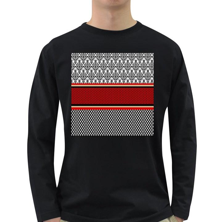 Background Damask Red Black Long Sleeve Dark T-Shirts