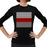 Background Damask Red Black Women s Long Sleeve Dark T-Shirts Front
