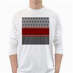 Background Damask Red Black White Long Sleeve T-Shirts Front