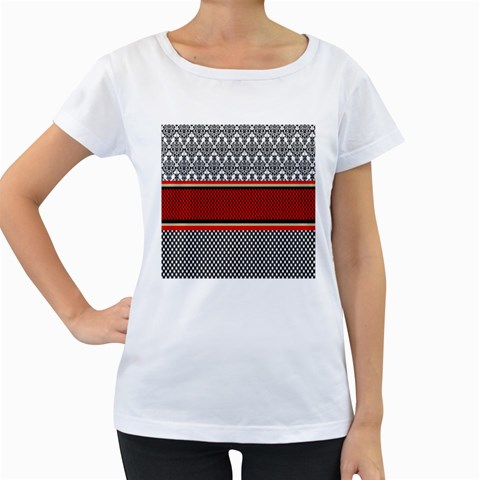 Background Damask Red Black Women s Loose-Fit T-Shirt (White)