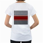 Background Damask Red Black Women s Loose-Fit T-Shirt (White) Back