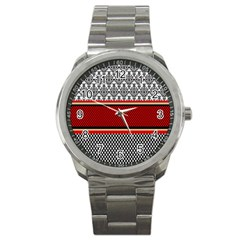 Background Damask Red Black Sport Metal Watch