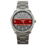 Background Damask Red Black Sport Metal Watch Front