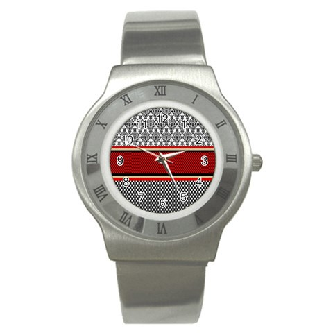 Background Damask Red Black Stainless Steel Watch