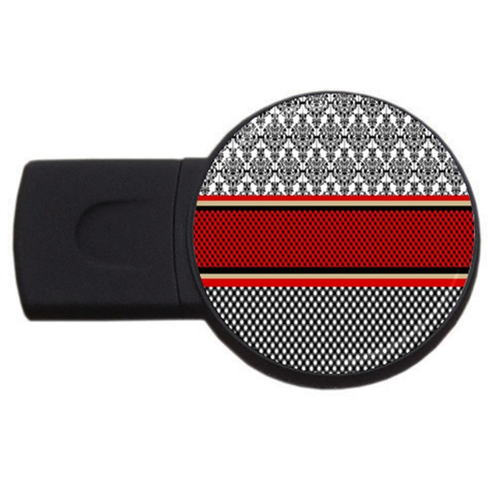 Background Damask Red Black USB Flash Drive Round (4 GB)