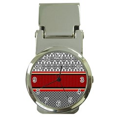 Background Damask Red Black Money Clip Watches