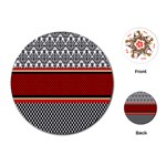 Background Damask Red Black Playing Cards (Round)  Front