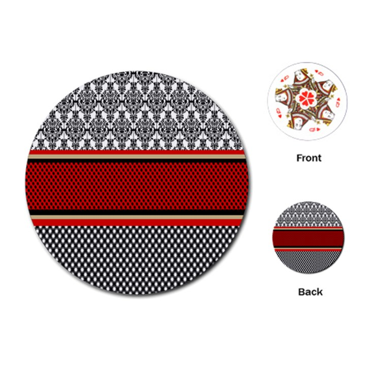 Background Damask Red Black Playing Cards (Round)